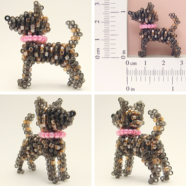 立ち甲斐犬ビーズ(首輪・濃いピンク、毛色・中虎、尾・差し尾)
